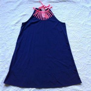 12 PM Mon Ami Dress Blue Pink Halter Tie